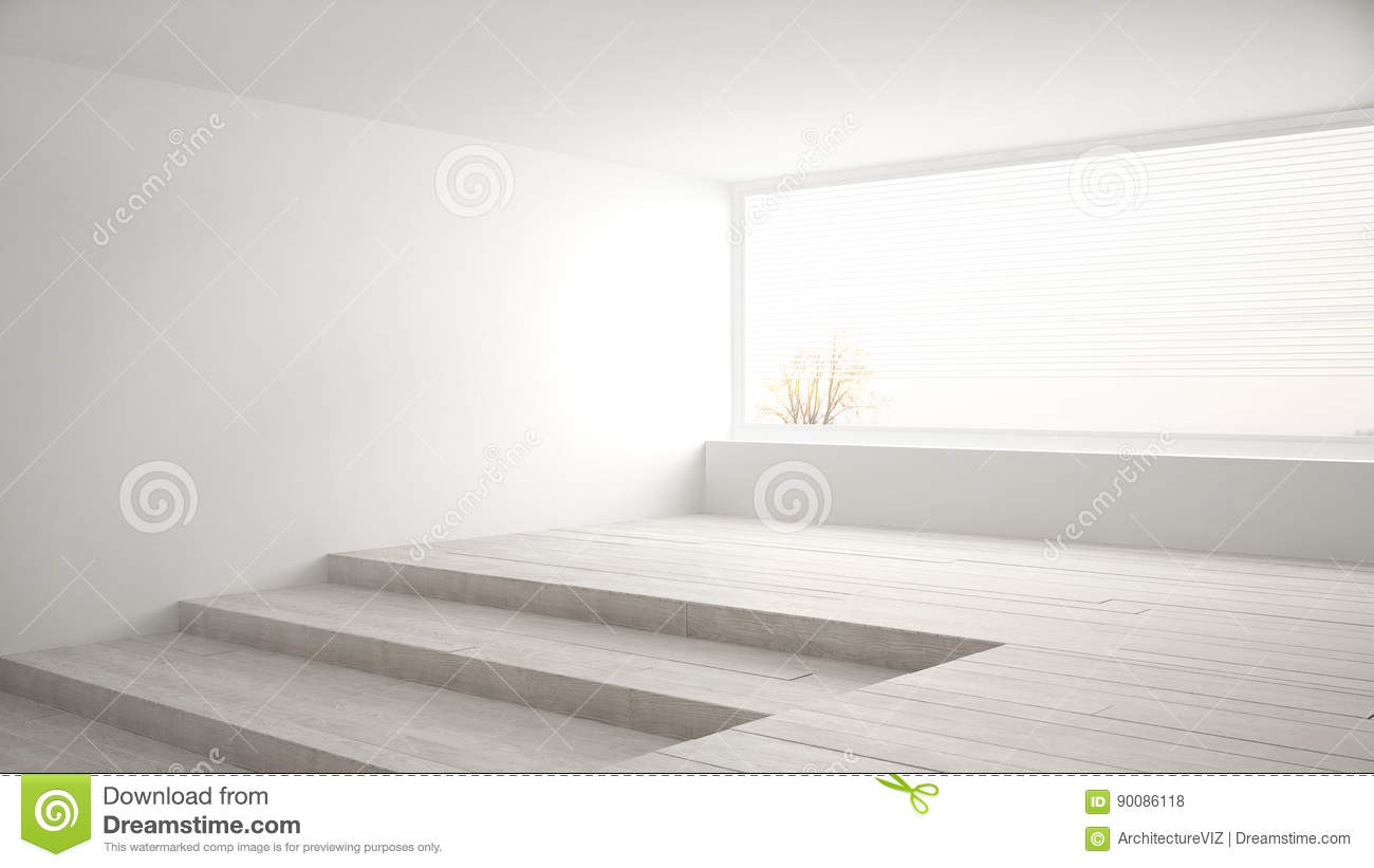 Empty Room With Big Panoramic Window And Stairs Minimalist Whit