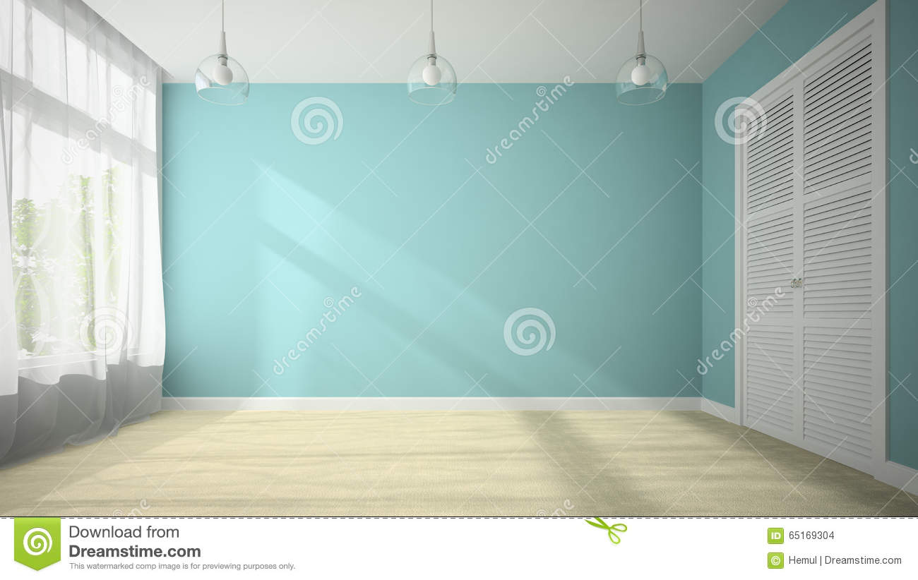 Empty room with blue wall 3D rendering