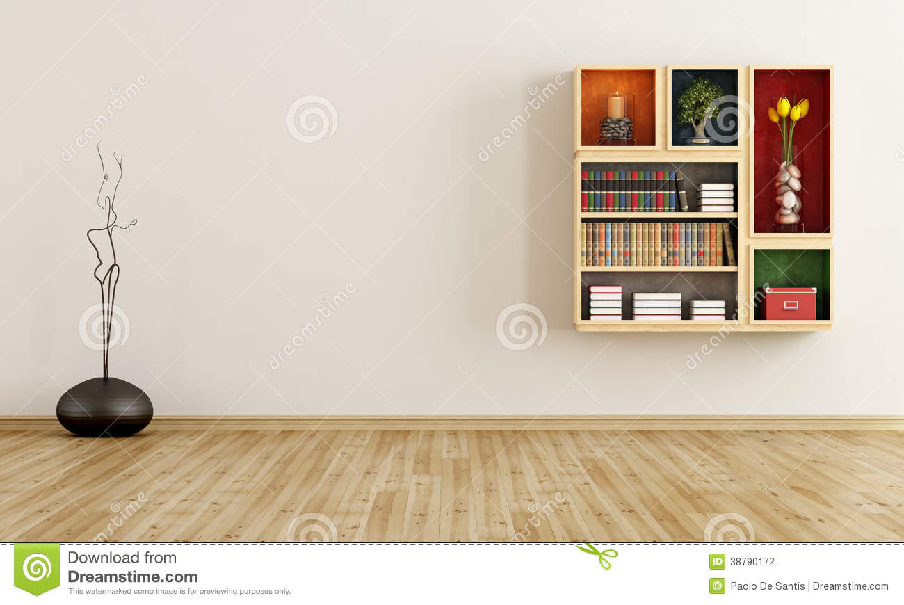Empty room with bookcase On wall