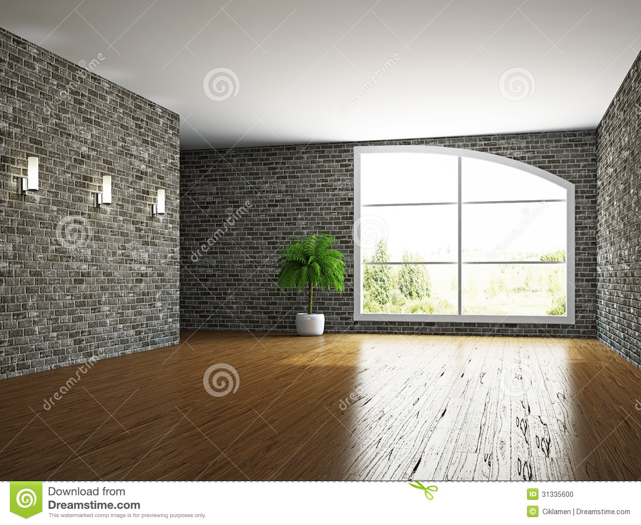 The Empty Room With Brick Wall Stock Photo Image 31335600