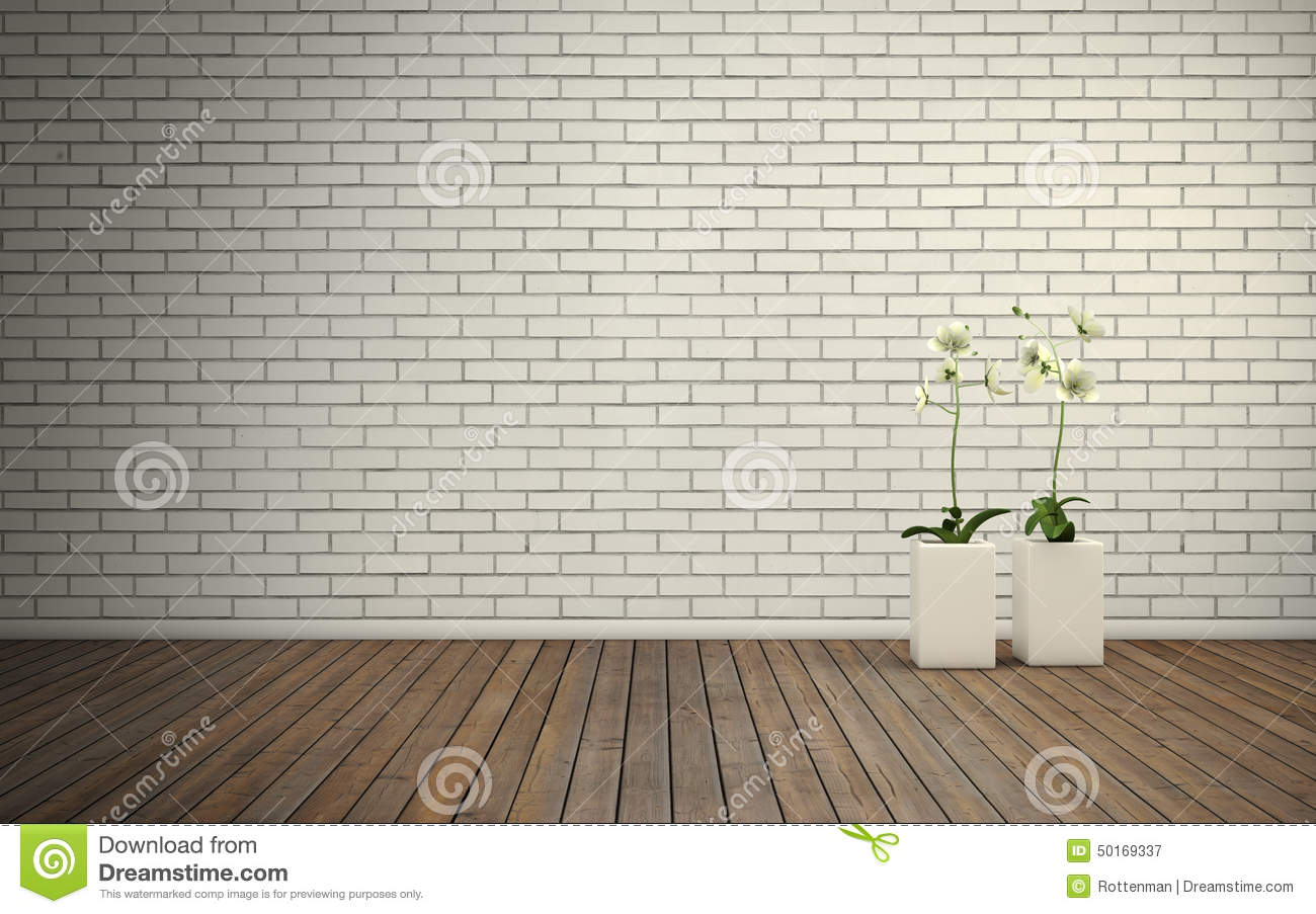 Empty Room With Brick Wall And Wooden Floor Stock ...