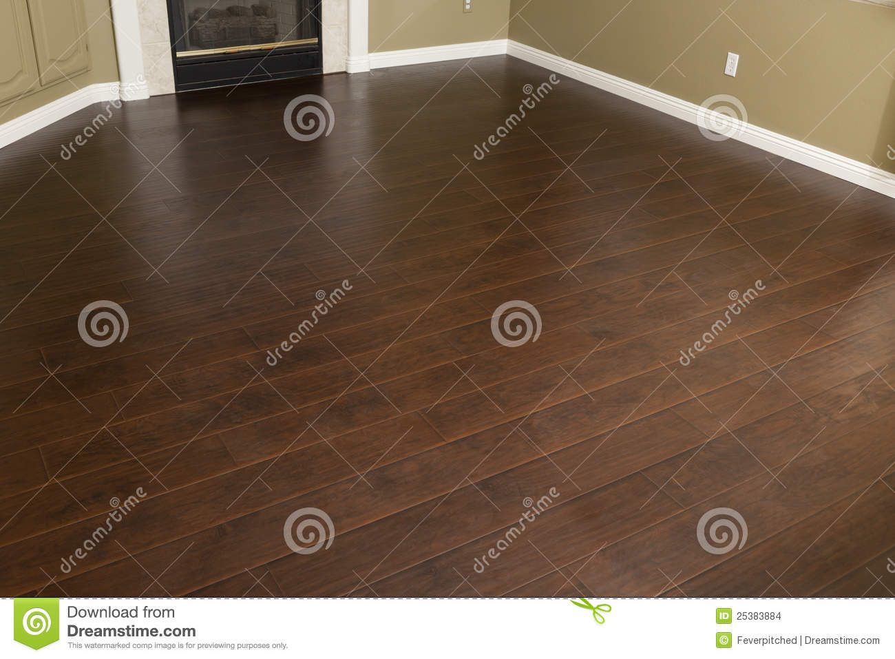 Empty Room with Brown Laminate Flooring