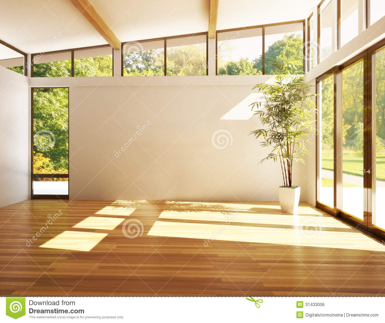 Room Background: Empty Room Of Business, Or Residence With Woods Background