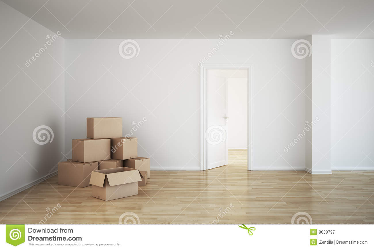 empty room with cardboard boxes royalty free stock