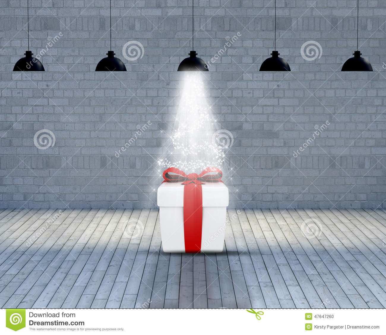 Empty room with Christmas gift