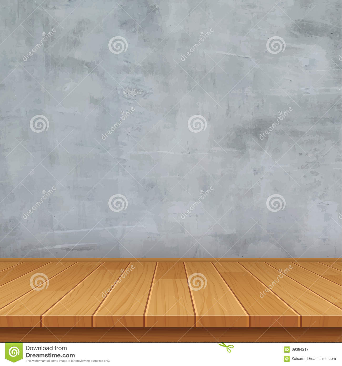 Empty Room With Concrete Wall And Wooden Floor Stock Vector ...
