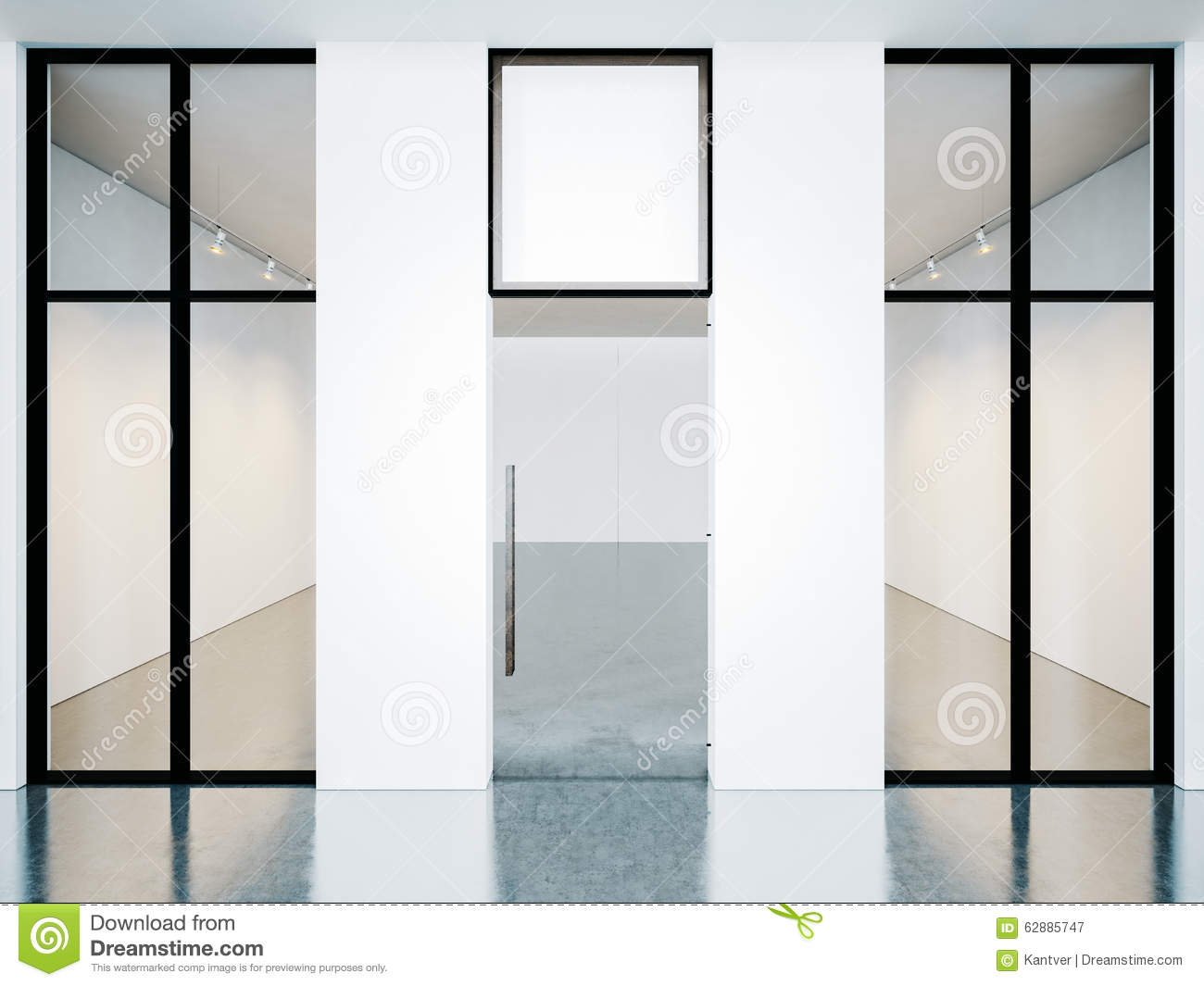 Empty Room Of Contemporary Gallery With Blank Stock Image - Image of ...