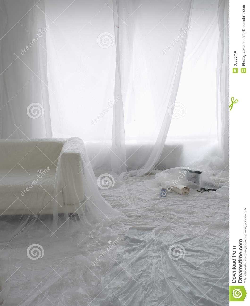 Empty Room Covered In Dust Sheets Stock Photo Image