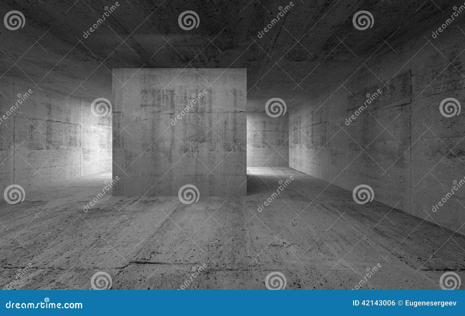 Dark empty room with window - Empty Room Dark Abstract Concrete Interior Royalty Free Stock Image