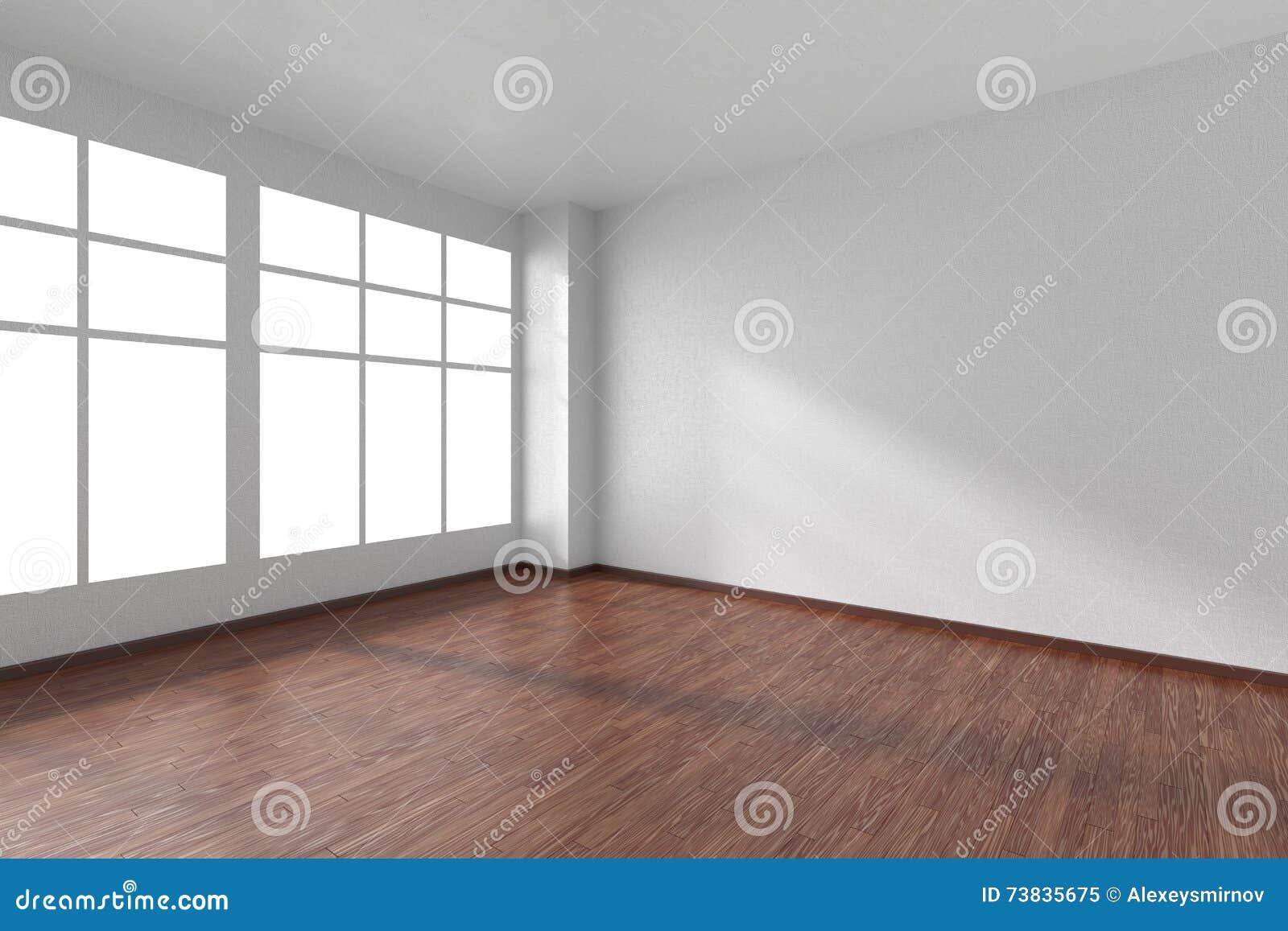Dark empty room with window - Empty Room With Dark Wooden Parquet Floor Textured White Walls Royalty Free Stock Photo