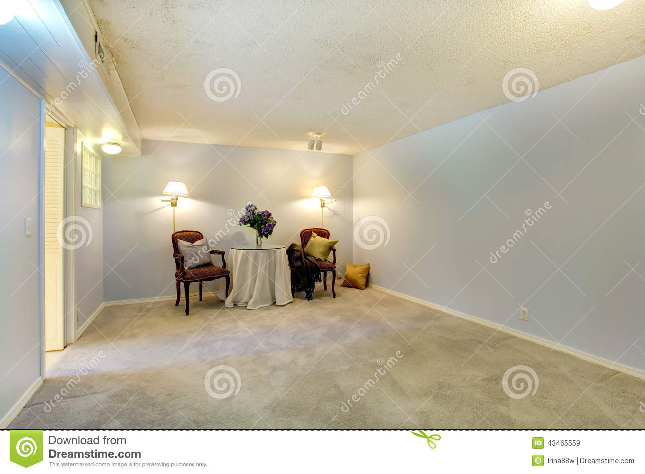 Empty room decorated with antique chairs and table stock photo image