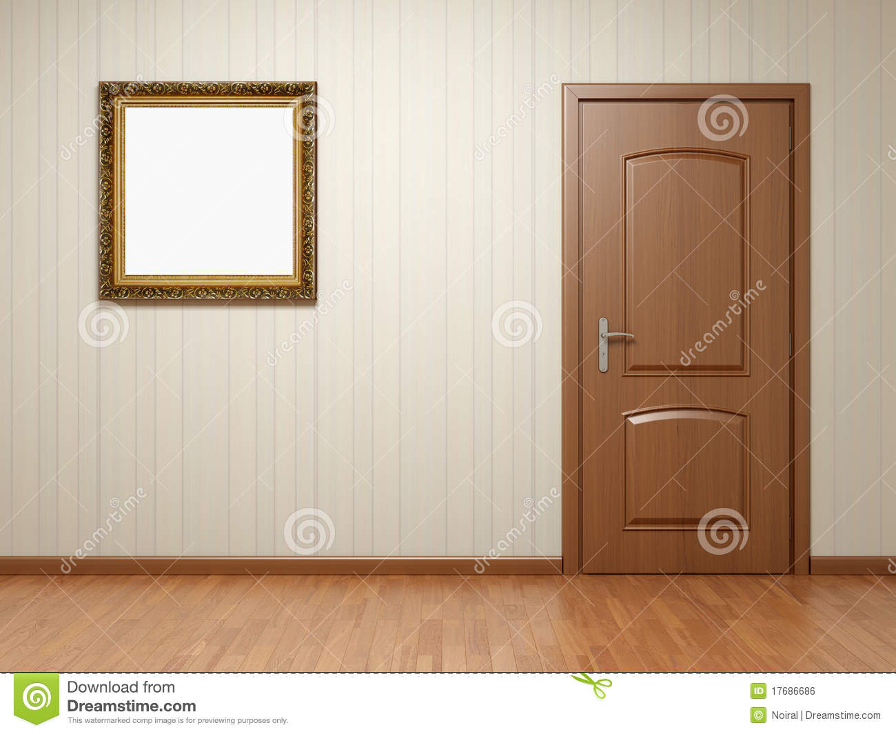 Empty room with door and frame royalty free stock image for Room door frame
