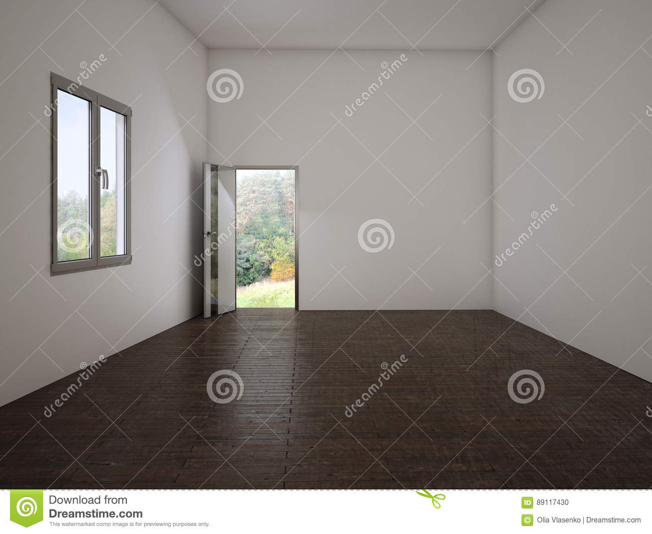 Empty Room With The Door And A Window, 3d Stock ...