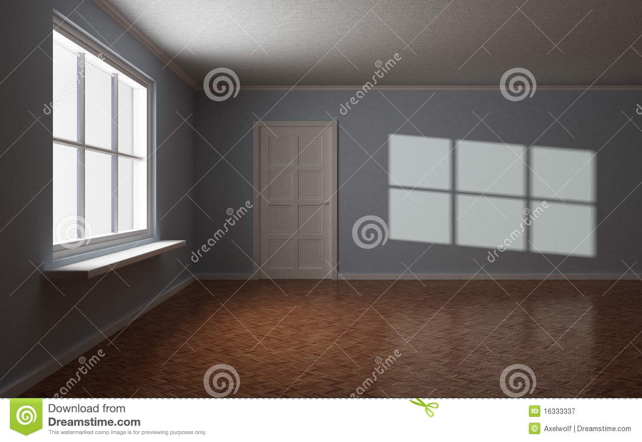 Dark empty room with window - Empty Room With Door And Window Sun Highlight Royalty Free Stock Photography