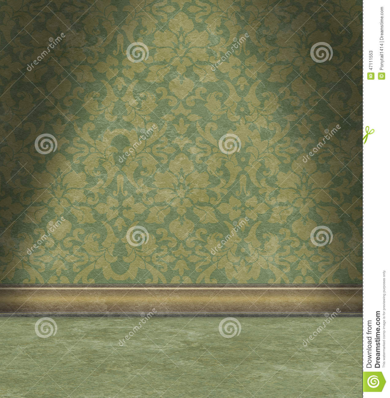 Empty Room With Faded Green Damask Wallpaper