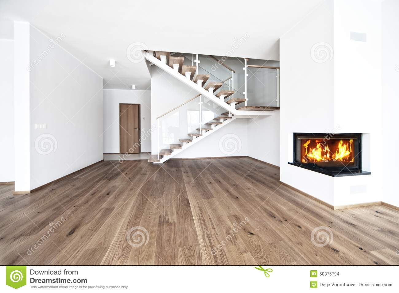 Empty room with fire place stock photo. Image of domestic - 50375794