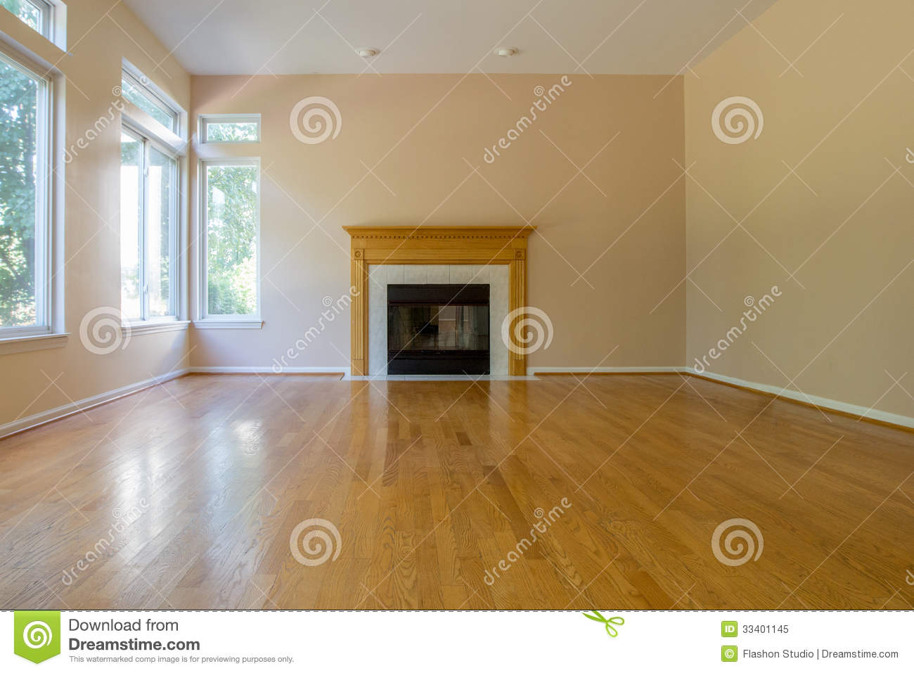Empty room with fireplace stock image image of hardwood for Residential wood flooring
