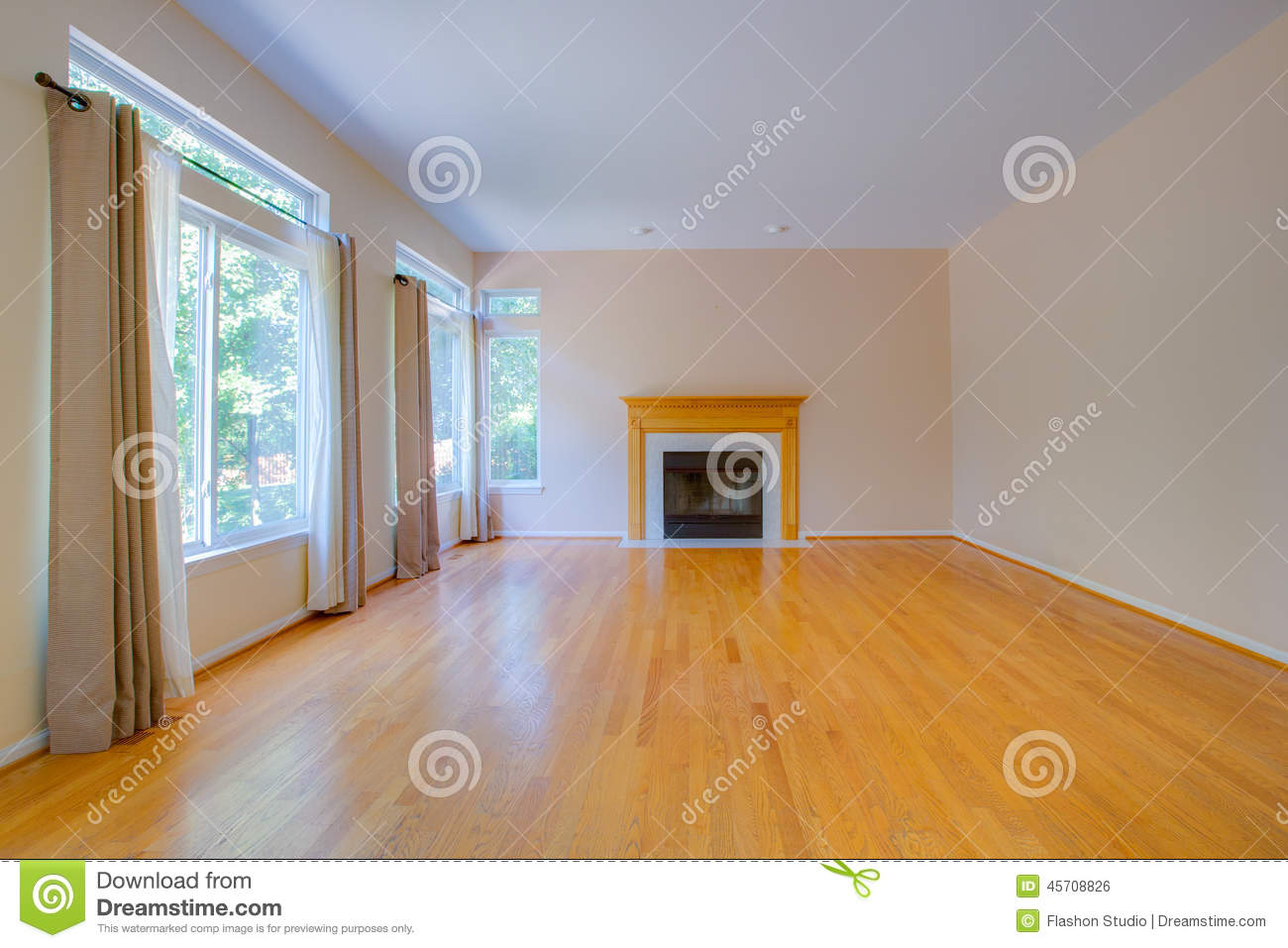 Empty Room With Fireplace Stock Photo Image Of Bright