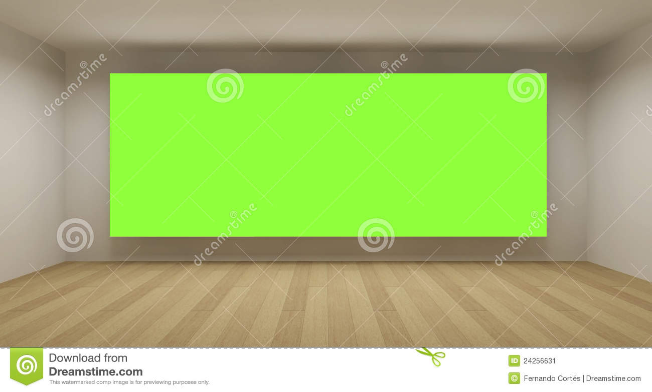 Empty Room With Green Chroma Key Backdrop Stock