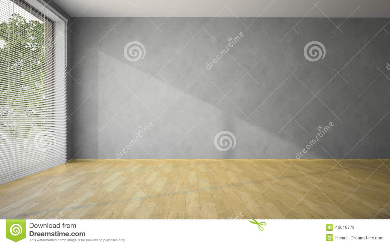 Empty room with grey walls and parquet