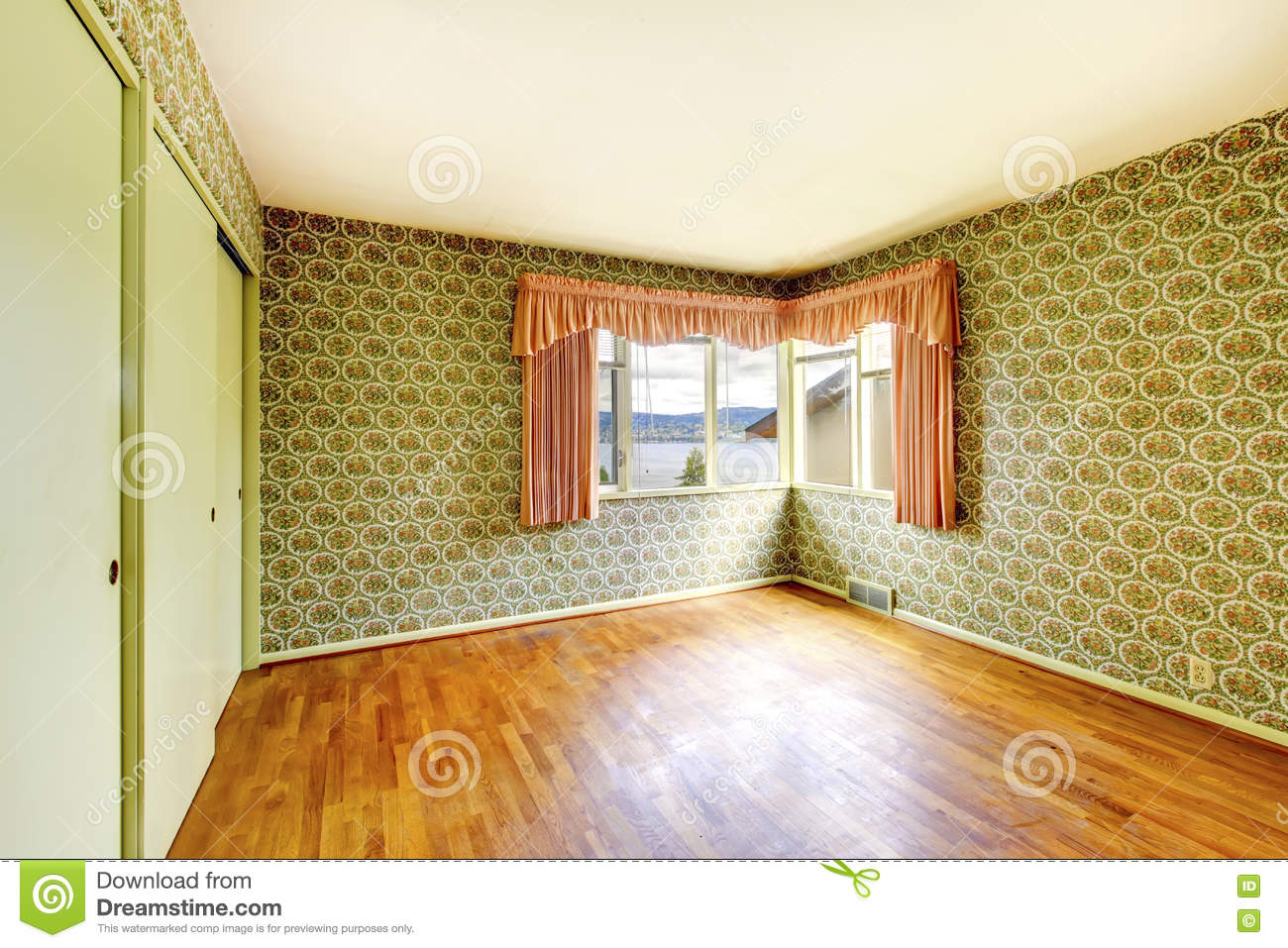 Empty Room With Hardwood Floor, Green Walls Decorated With Flora ...