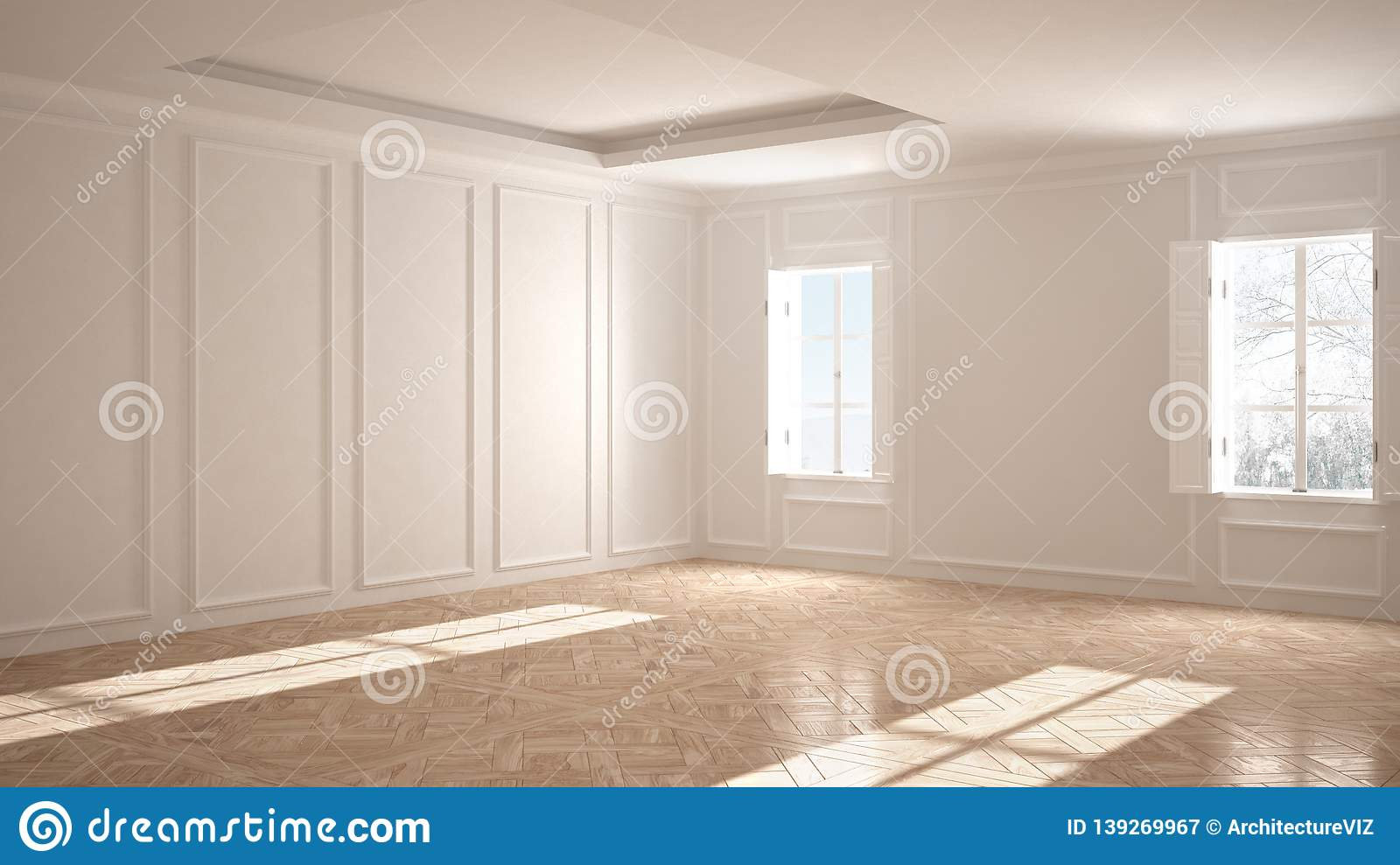 Empty Room Interior Design Open Space With Stucco Molded Walls
