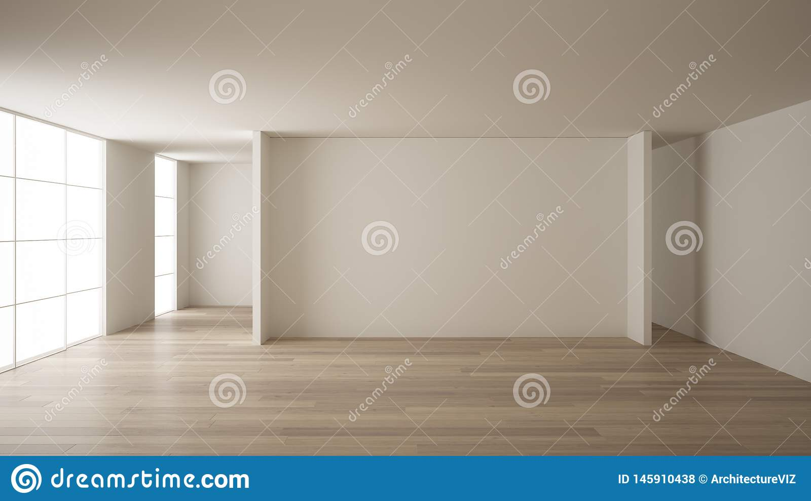 . Empty Room Interior Design  Open Space With White Walls  Modern