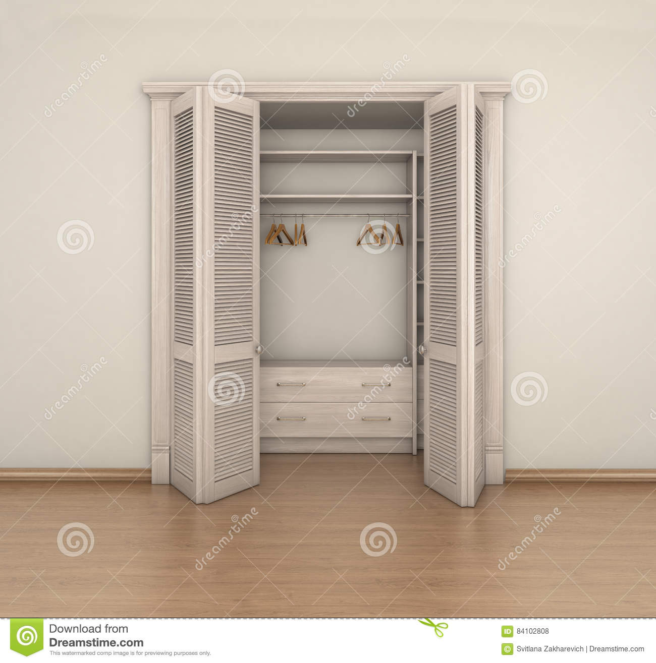 Empty Room Interior And Closet 3d Illustration Royalty Free Stock Photos