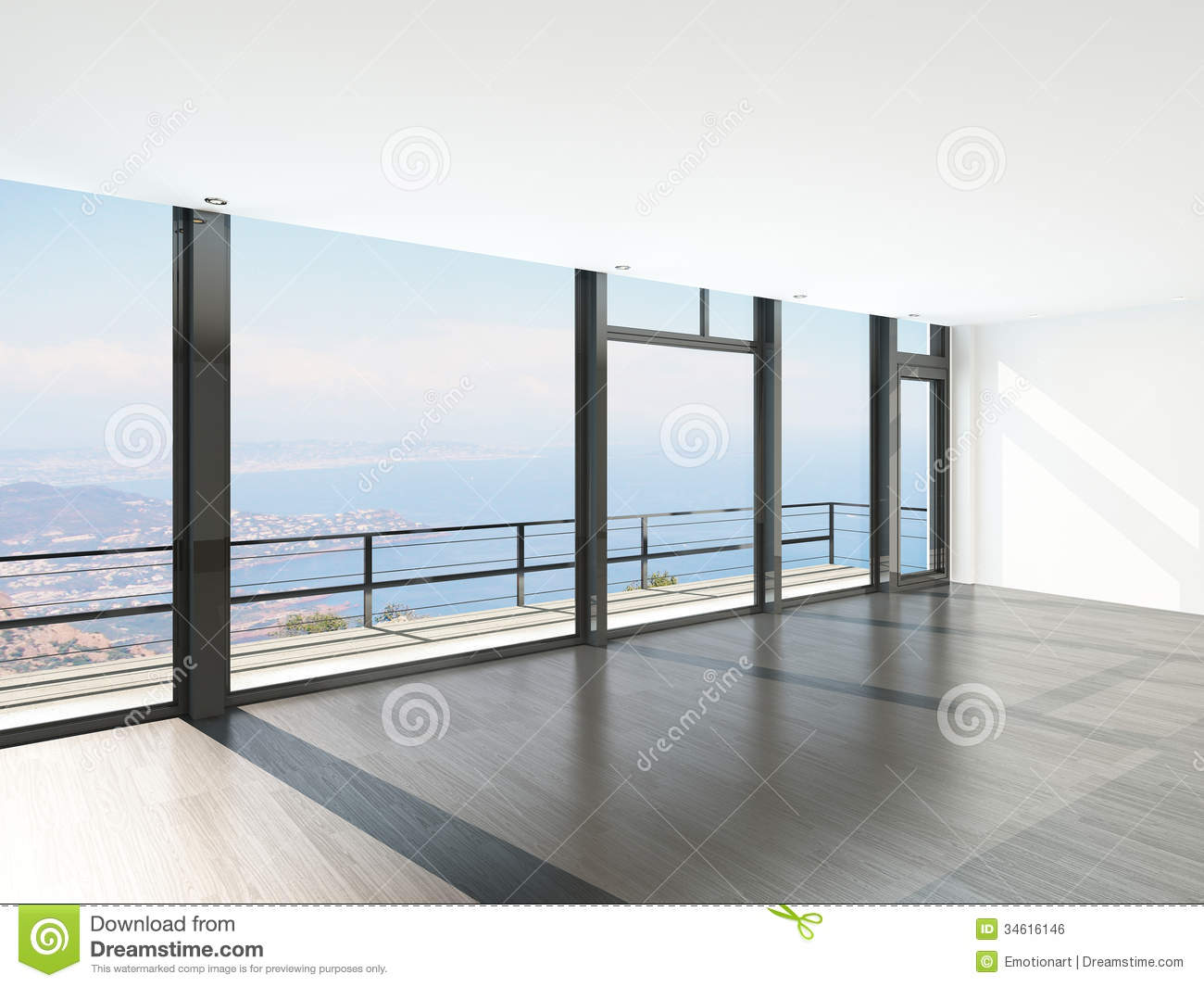 Empty room interior with floor to ceiling windows and Ceiling window
