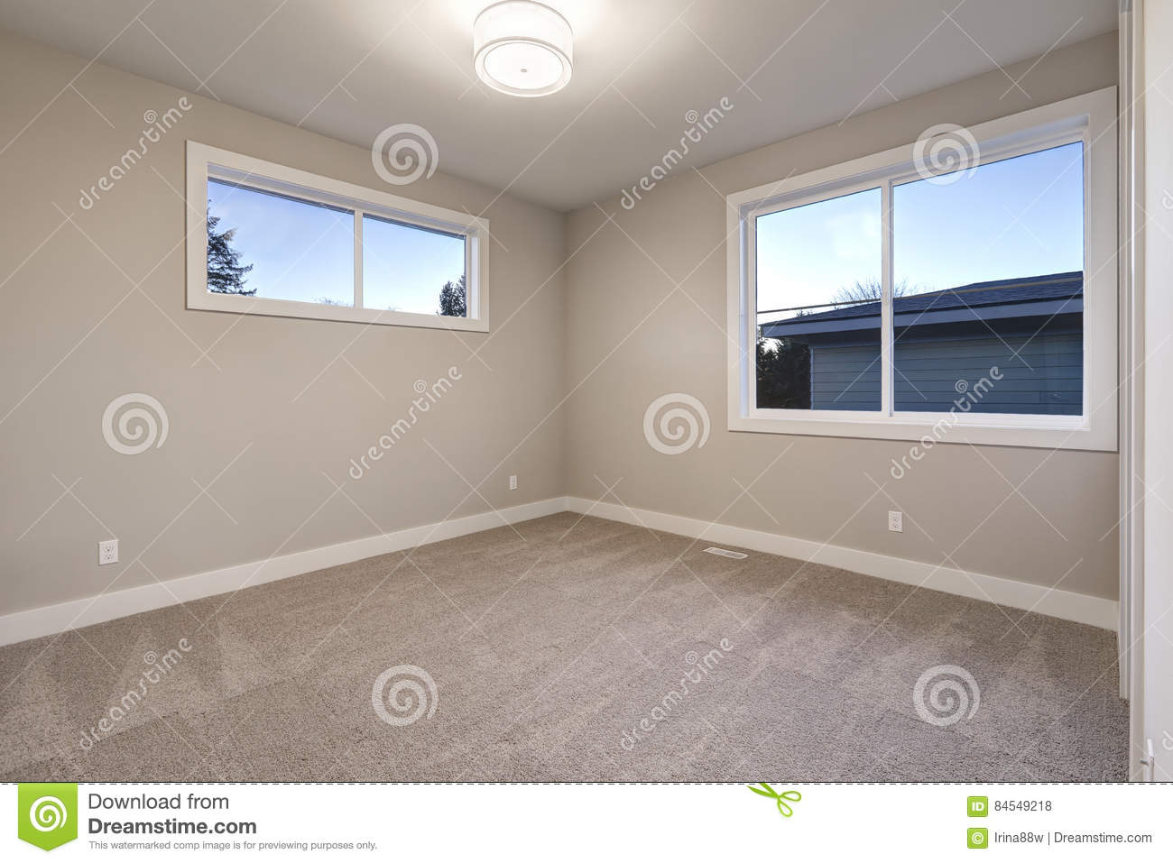 Empty Room Interior With Grey Walls Paint Color