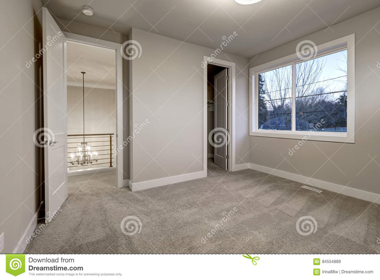 Empty Room Interior With Grey Walls Paint Color Stock