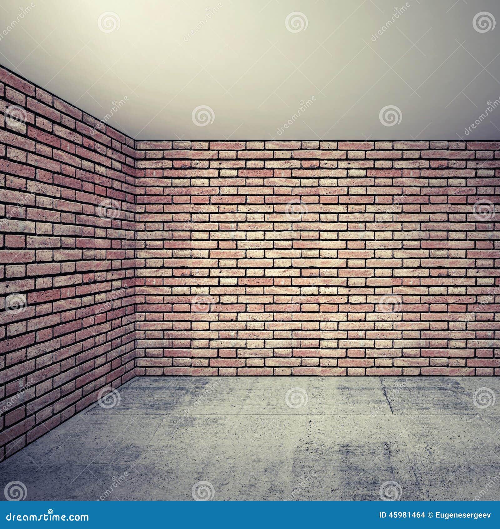 Interior Brick Flooring Pricing : Empty room interior with red brick walls and concrete