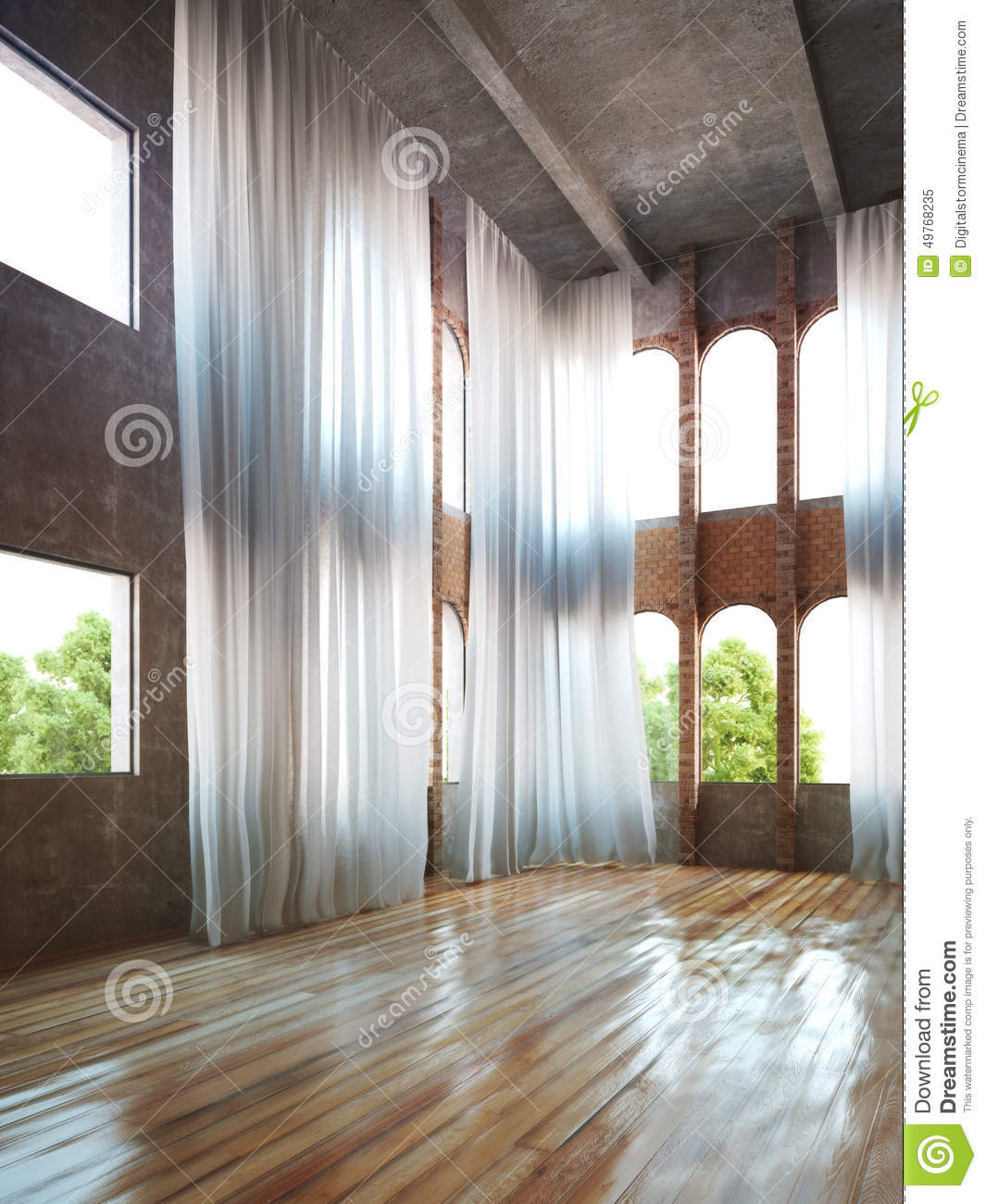 Download Empty Room Interior With Rustic Accents And Curtains Stock Illustration