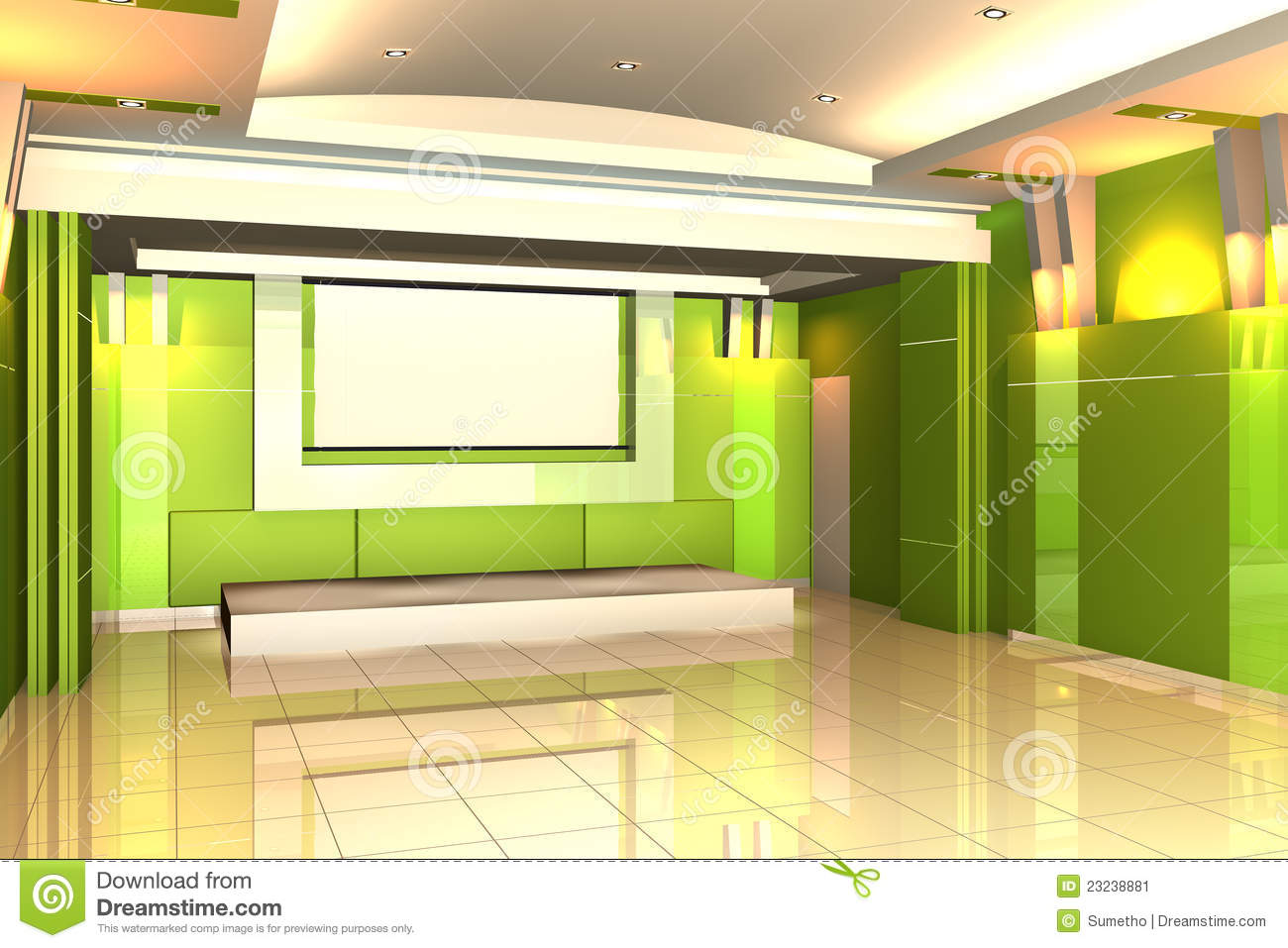 Empty Room For Interior Seminar Room Color Wall Stock Illustration ...