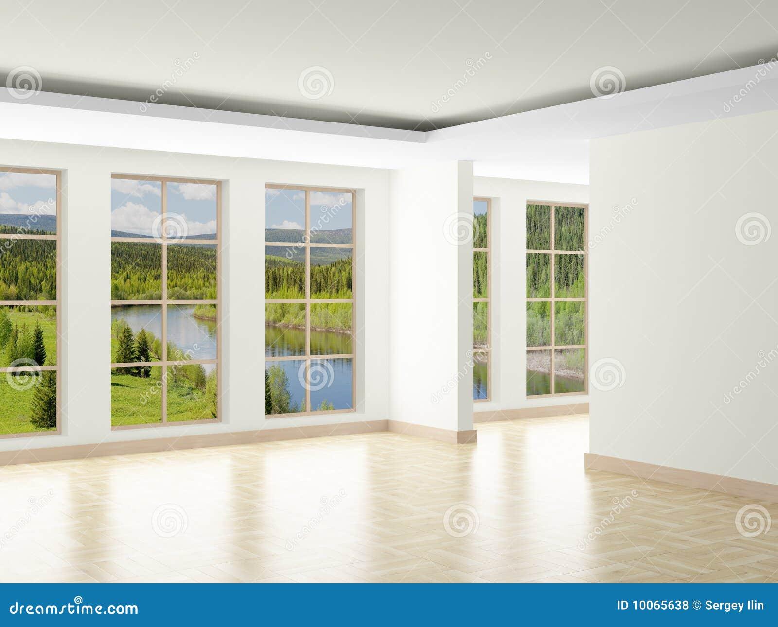 Empty room. Landscape behind window