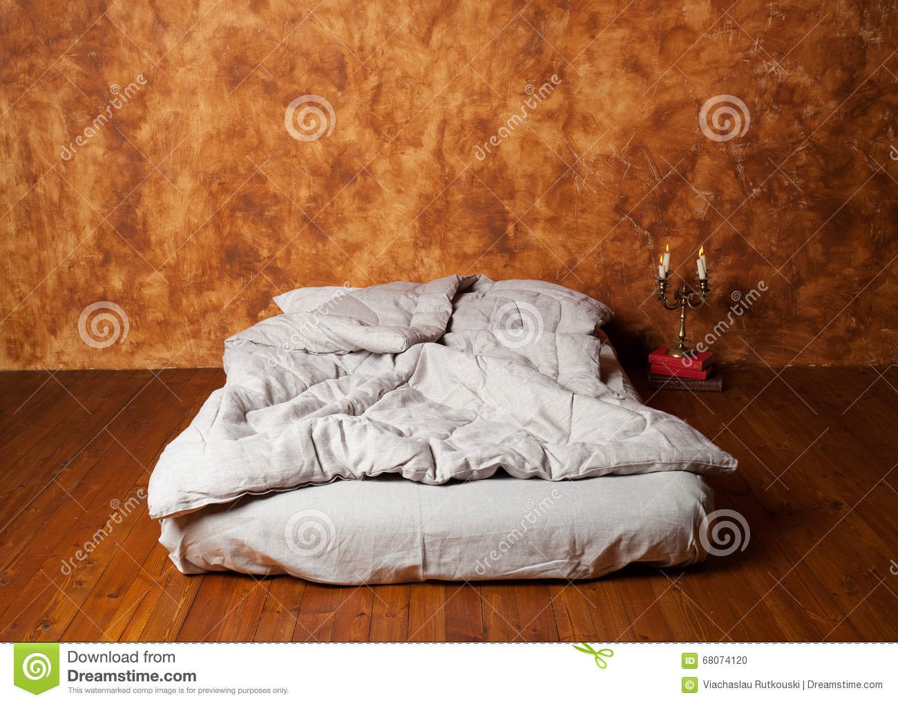 Empty Room In The Loft With A Mattress As A Bed Brown Wall Wo Stock Photo Image Of Home Berth 68074120
