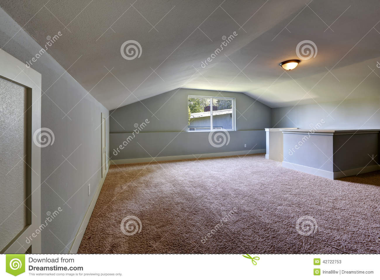 Brown Walls In Bedroom Empty Room With Low Vaulted Ceiling Stock Photo Image