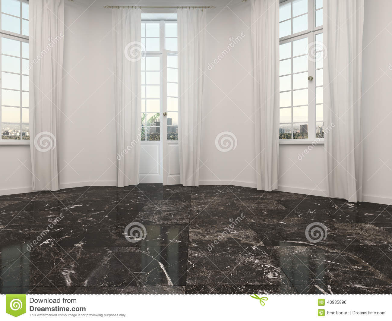 Empty Room With Marble Floor And Patio Doors Stock