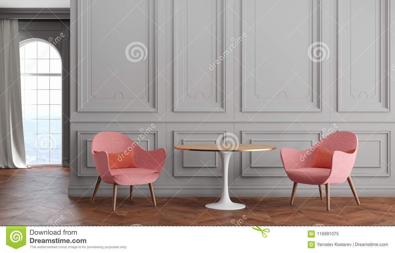 Empty Room Modern Classic Interior With Gray Walls Pink