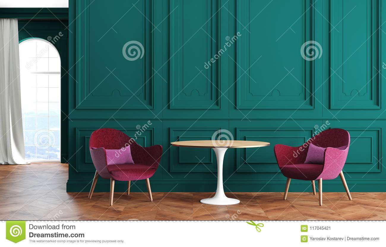 Empty Room Modern Classic Interior With Green Walls Red Burgundy Armchairs Table Curtain And Window Stock Illustration Illustration Of House Living 117045421