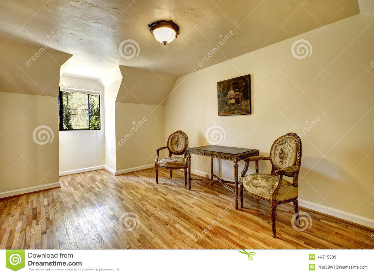 Empty room in old house with antique carved wood furniture stock photo