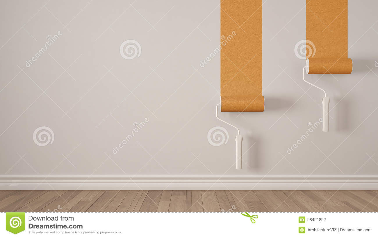 Empty room with paint rollers and painted wall wooden floor white and orange minimalist