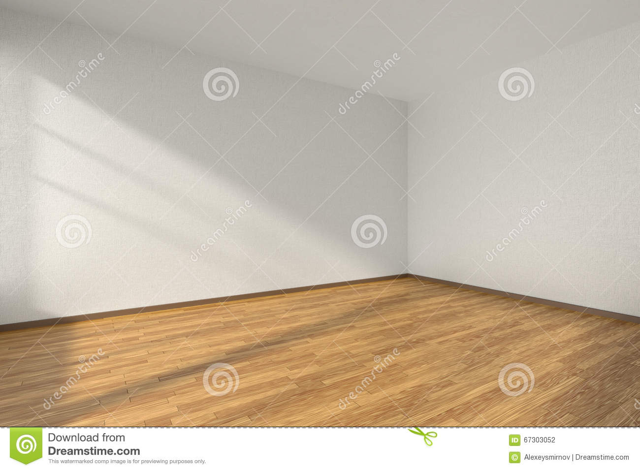 Empty Room With Parquet Floor And Textured White Walls