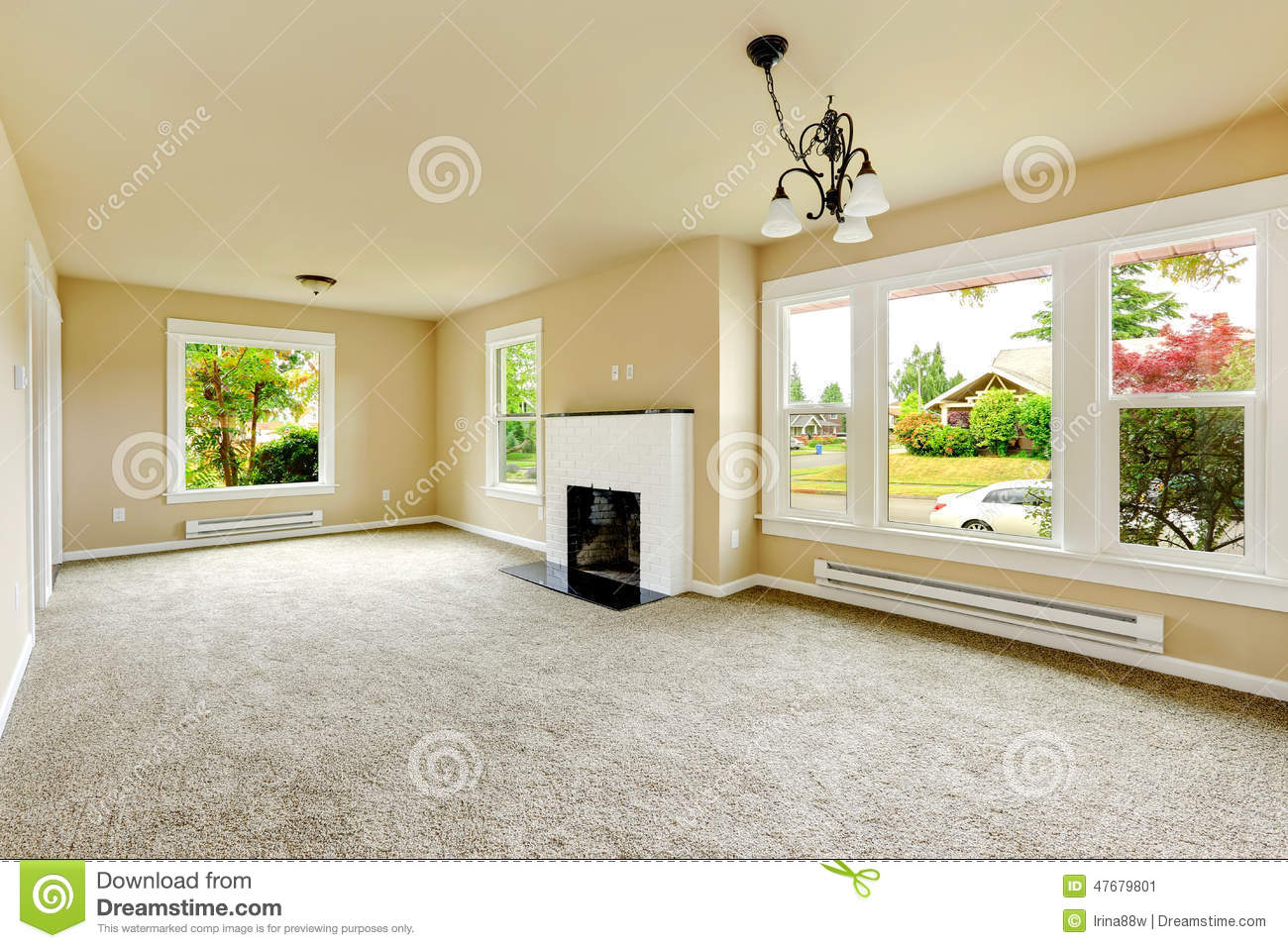 Empty Room With White Brick Background Fireplace Stock Image - Image ...