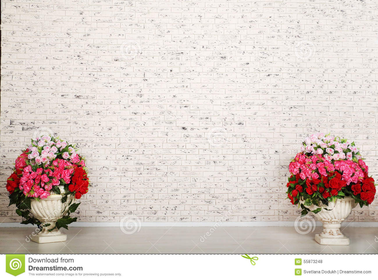 Empty Room With White Brick Wall And Beautiful Flowers Stock Photo Image Of Roses Bouquet 55873248