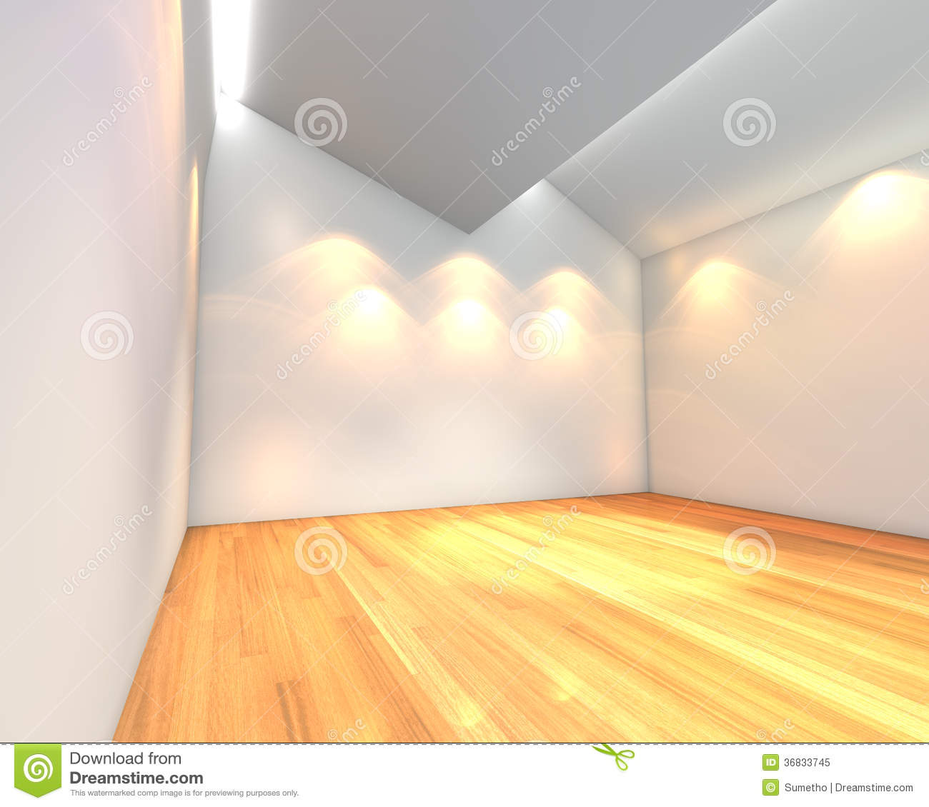 Empty Room White Wall With Ceiling Serration Stock Illustration ...