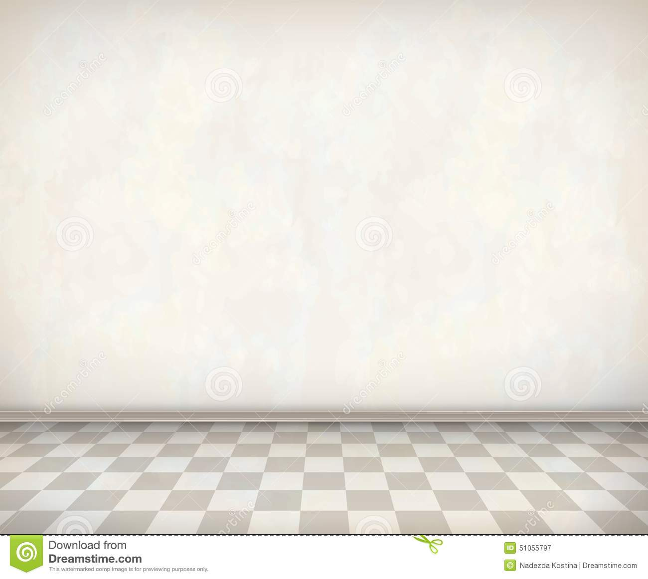 Empty room with white wall tile floor classical vector interior