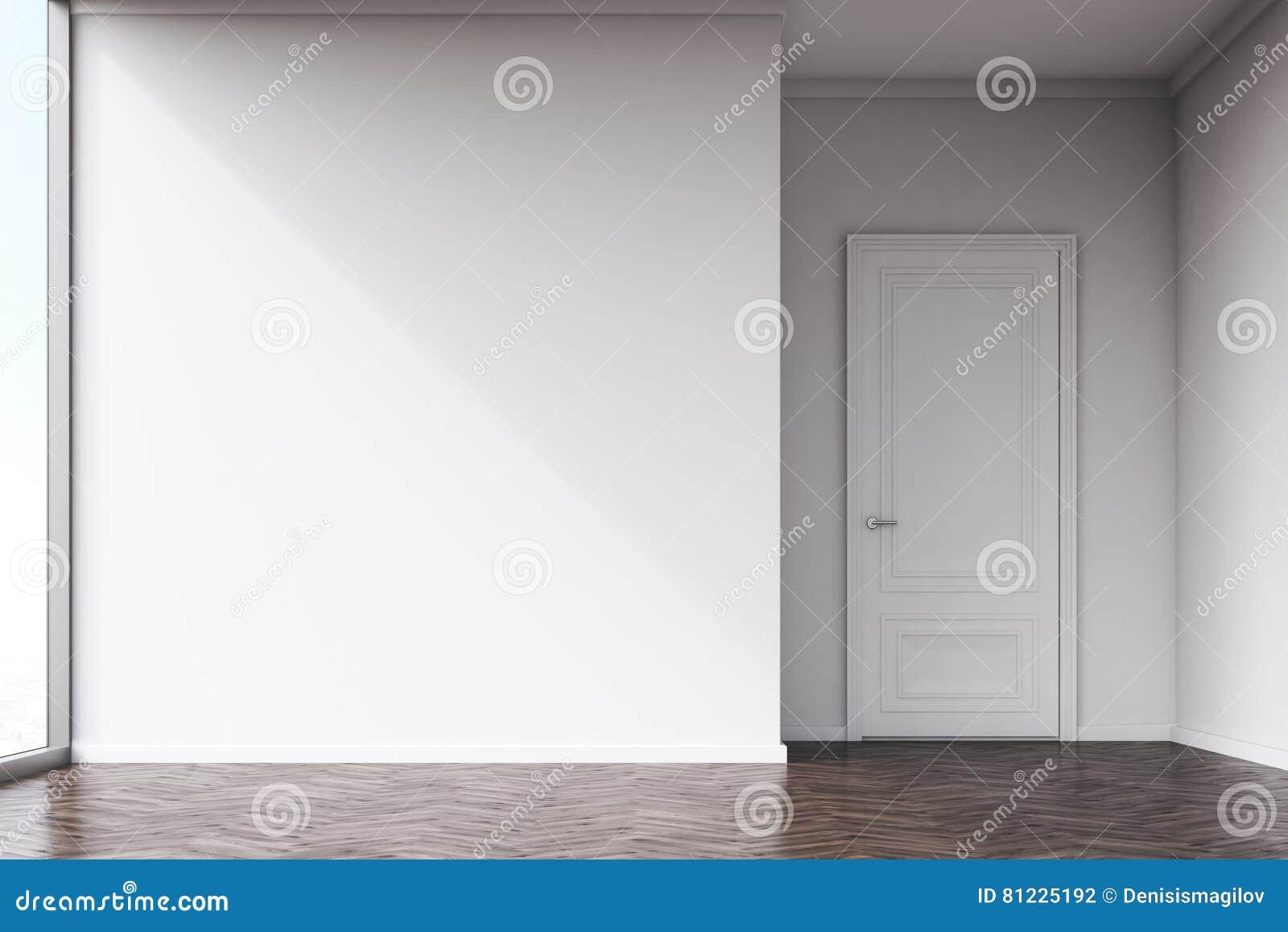 Dark empty room with window - Empty Room With White Walls And Dark Wood Floor Stock Photo