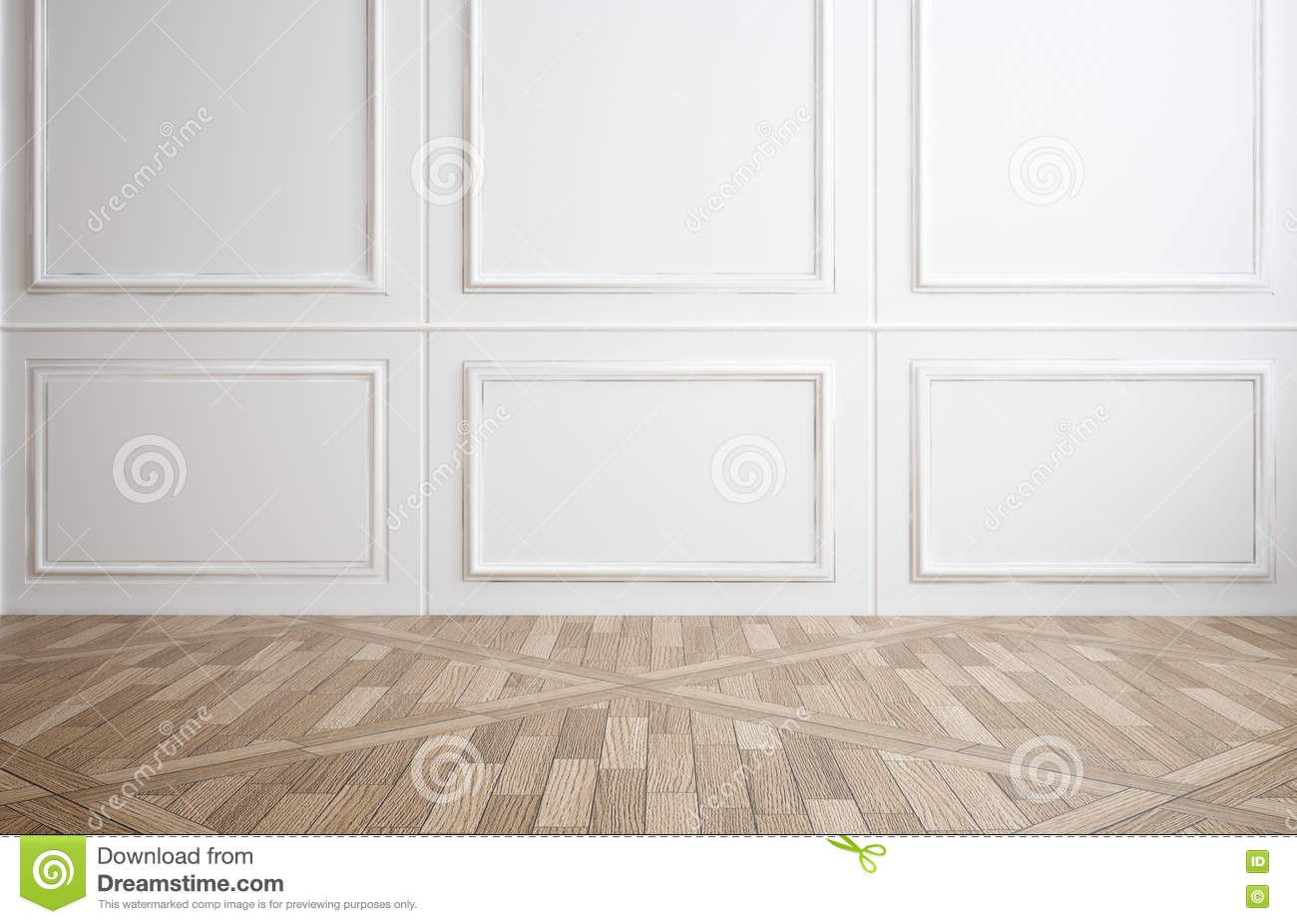 Empty Room With White Wood Paneling Stock Image Image Of