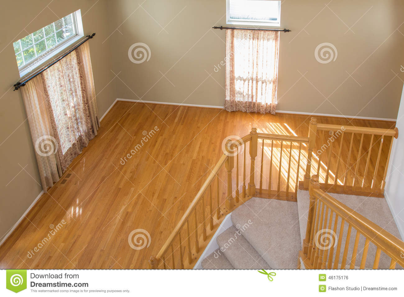 Empty room with 2 windows carpet floor stock photo image for How to clean paint from hardwood floors